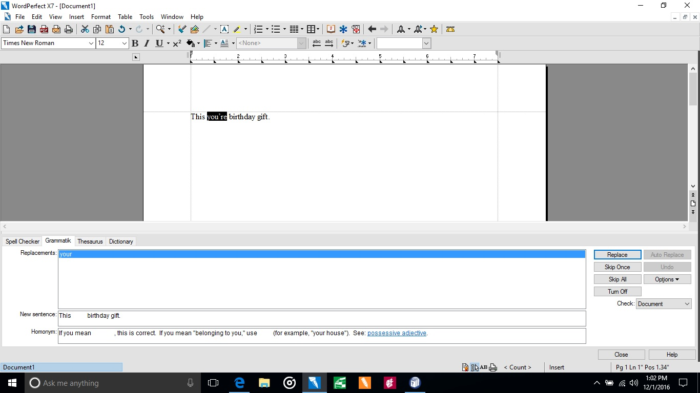 Wordperfect office x7 windows 10 blank fields in spelling and this screenshot is only a mockup created to illustrate the issue in an obvious way freerunsca Image collections